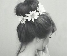 Cute bun with flowers...Reminds me of tinkerbell.