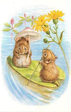 Racey Helps ~ Summer on the Lake Mice Boating on Leaf Medici Society Unused Vintage Fantasy Postcard by TheOldBarnDoor on Etsy Beatrix Potter, Old Illustrations, Hamster, Cute Mouse, Woodland Creatures, Children's Book Illustration, Animal Drawings, Cute Art, Illustrators