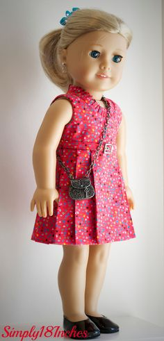 Sleeveless print dress soon to be listed at Simply18Inches.
