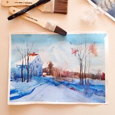 Otido_4u_illustration  watercolor illustration fashion art painting artist paint design clouds snow winter blue river trees house