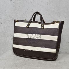 The Superior Labor Leather and Canvas Striped Tote