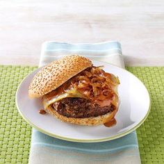 Sweet Onion BBQ Burgers Recipe from Taste of Home -- shared by Christie Gardiner of Pleasant Grove, Utah