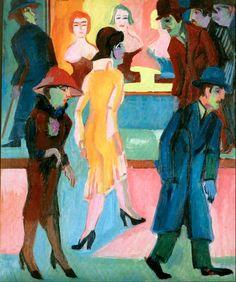 Ernst Ludwig Kirchner (German, 1880 – 1938) Street scene in front of the barbershop (Straßenbild vor dem Friseurladen), 1926 Oil on canvas