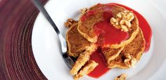 Butternut Almond Pancakes with Strawberry Maple Sauce-Brinner anyone?