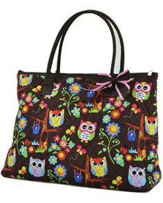 Quilted Hoot Hoot Owl Extra Large Tote Bag