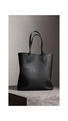 Medium Embossed Leather Tote Bag in Black | Burberry