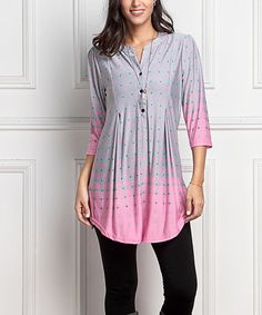 Look what I found on #zulily! Gray & Pink Gradient Dot Notch Neck Button-Front Tunic #zulilyfinds