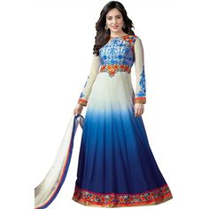 World's Most Selling White Blue Color Embroidary Attractive Salvar Suit