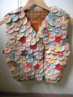 Vintage quilt appliqué vest yo-yo design
