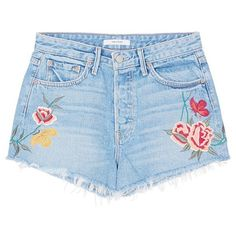 Grlfrnd 'Cindy' floral embroidered denim shorts ($198) ❤ liked on Polyvore featuring shorts, blue, denim short shorts, sports shorts, floral jean shorts, frayed shorts and urban shorts