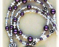 Silver & Pearl Lanyard ANTIQUE PEARL ID beaded Badge by curlynetto