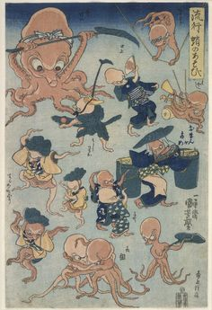 <流行 蛸のあそび :  RYUKO TAKO NO ASOBI>  FASHIONABLE OCTPUS GAMES  KUNIYOSHI UTAGAWA  1798-1861  Last of Edo Period