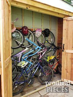 DIY Bike Garden Shed Tutorial from Cedar Wood - Prodigal Pieces - Modern Design Bicycle Storage Shed, Outdoor Bike Storage, Bike Shed, Outside Bike Storage, Backyard Sheds, Outdoor Sheds, Outdoor Balcony, Backyard Chickens, Garden Sheds