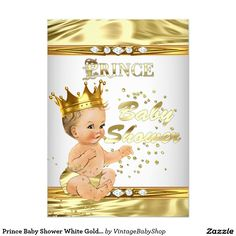 Prince Baby Shower White Gold Foil Blonde 5x7 Paper Invitation Card