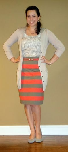 Old Navy striped skirt, NYCo cardigan, Target tank, belt & shoes, Monogram necklace
