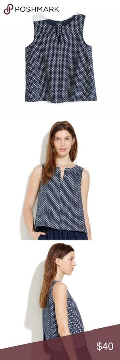NWOT Madewell DaisyDot Top Super cute cropped denim Daisy Dot top from Madewell. Cropped fit with cool cutout back, slightly bell shapes with micro-dot print. New without tags. Very cute, perfect for spring/summer. Madewell Tops Crop Tops