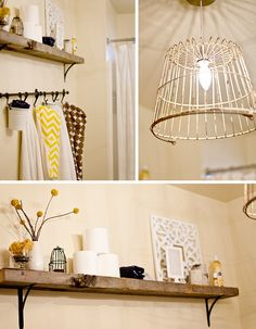 cute shelf. cute towel rack. cute light. love it!