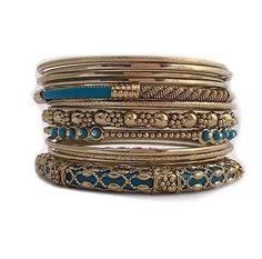 Gold Tone Teal Stacking Bangle Bracelets