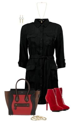 """""""Black & Red"""" by ksims-1 ❤ liked on Polyvore featuring Boohoo, Michael Antonio, CÉLINE, Michael Kors, Kendra Scott and Ross-Simons"""