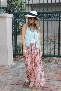 Denim Vest & Maxi Skirt