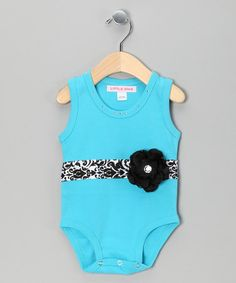 Take a look at this Turquoise Ribbon Flower Bodysuit - Infant by Little Diva on #zulily today!