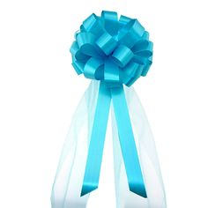 Turquoise Wedding Pull Bows with Tulle Tails - 8' Wide, Set of 6 *** Click on the image for additional details.