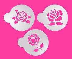3 pcs Roses Stencil Cookie Stencil Custom Stencil by makeandfun