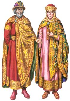 "Ancient Ukrainian/Russian prince and princess in Kievan Rus.  From Vasina's ""Chronicles of Ukrainian Costume""."