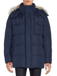 ANDREW MARC Winslow Coyote Fur-Trimmed Down Parka. #andrewmarc #cloth #parka