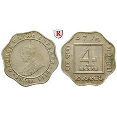 Indien, Britisch-Indien, George V., 4 Annas 1919, vz: George V. 1910-1936. Kupfer-Nickel-4 Annas 1919 Kalkutta. KM 519; vorzüglich,… #coins