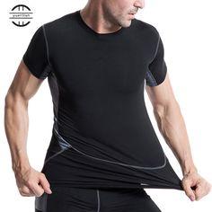 8ab7c6db213 Yuerlian Black Quickly Dry Mens Short T-Shirt XXL Elastic Sportswear Fitness  Tight Running Shirt Gym Sports Suit Soccer Jerseys