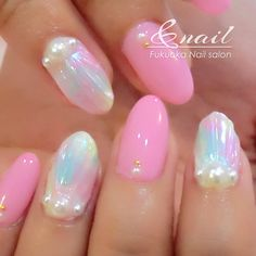 貝殻ネイル Easter Nail Designs, Easter Nail Art, Nail Art Designs, Nail Desighns, Nails 2017, Mermaid Nails, Bling Nails, Nail Trends, Nails Inspiration