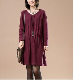 Wine Red Cotton Casual Long Sleeve Knitting Sweater .