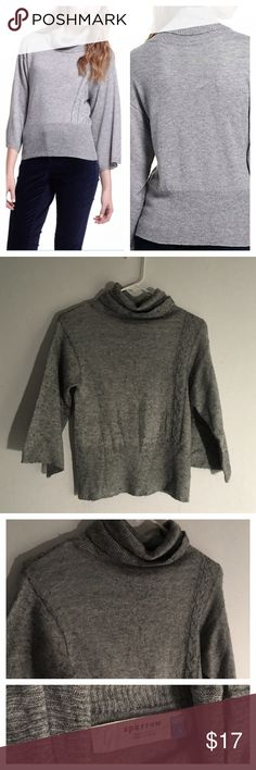 Anthropologie Sparrow Sweater - READ Size: small, could fit Xsmall // Sparrow Kimi Sweater in Grey • turtleneck sweater with wider sleeves • slim fit • has knit detail on the left side • has pilling so price reflects • fair condition Anthropologie Sweaters Cowl & Turtlenecks