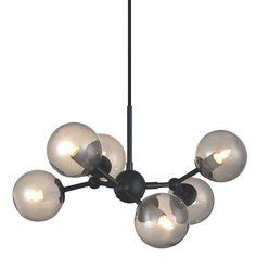 Atom pendel mini - Sort/Røk Halo, Kristiansund, Sorting, Chandelier, Smoke, Ceiling Lights, Design, Lighting, Home Decor