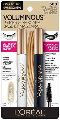 L'Oréal® Paris Voluminous® Primer & Mascara 500 Blackest Black 0.52 fl. oz. Carded Pack