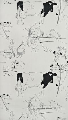 Countryside Toile Wallpaper Stone wallpaper with illustrated Cows and farm scenes in black. Too expensive at £65 a roll but i want this for my bathroom