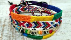 Friendship Bracelet 3 Woven.1 beaded Hand made Guatemalan Omega Fair Trade Gift