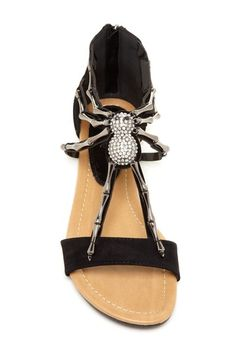 Well in some circles I'm known as RedWidow so this footwear is very apropos. Rhinestone Spider Sandal
