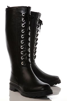 Just For 5pounds...Lace Up Front Rubber Rain Boots