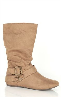 Deb Shops Mid-Height Suede #Boot\