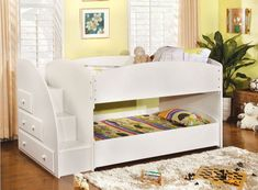 Furniture of America Ridge Adjustable Twin over Twin Bunk Bed with Drawers - Bunk Beds & Loft Beds at Hayneedle