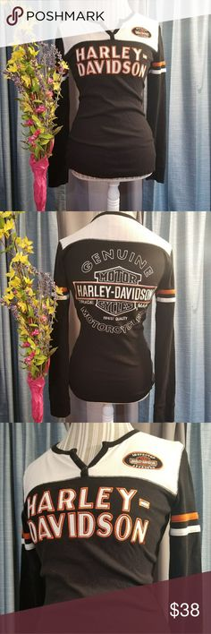 🌻🌺🌻HARLEY DAVIDSON GENUINE EMBROIDERED SHIRT!! SIZE:small but can fit a medium and possibly a large because of ribbed material (my mannequin is a medium for reference)   BRAND:Harley Davidson    CONDITION:like new, no flaws on shirt. Does have a tear in the tag but does not effect the shirt   COLOR:black/orange/white/cream  100% genuine merchandise! This sort is fully embroidered! Rare!   🌟POSH AMBASSADOR, BUY WITH CONFIDENCE!   🌟CHECK OUT MY OTHER ITEMS TO BUNDLE AND SAVE ON SHIPPING…
