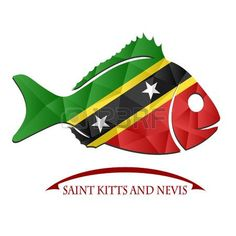 Logotipo de pescado hecho de la bandera de Saint Kitts y Nevis.