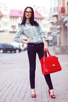 Denim: Levi   // Red One by Michaellla Barri Collection bag     //  Casadei heels