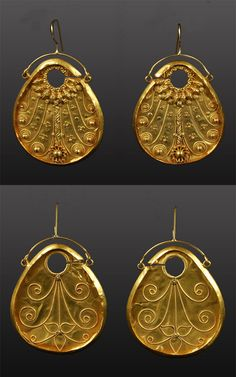 "Northeast India | Gold ear ornaments ""Panddi"". 22k gold with filigree 