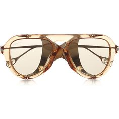 Gucci Aviator-style acetate and metal sunglasses (263.815 CLP) ❤ liked on Polyvore featuring accessories, eyewear, sunglasses, neutrals, retro glasses, retro aviator glasses, retro style sunglasses, retro aviator sunglasses and aviator style sunglasses