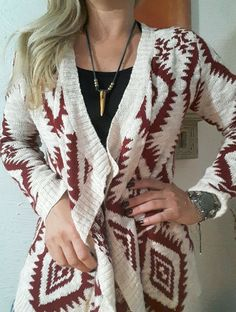 RED WHITE NATIVE PRINT BOHO HIPPIE OPEN FRONT KNIT CARDIGAN SWEATER REG M  JR. L #Arizona #Cardigan