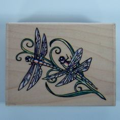Stampabilities Rubber Stamp Fragile Beauty Dragonfly on Stem Leaves JR1014 #Stampabilities