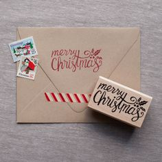 Celebrate the Christmas Season with this hand lettered Merry Christmas rubber stamp. Add a little extra touch to your holiday cards, or even make your own cards this year! • Style: Merry Christmas Sta